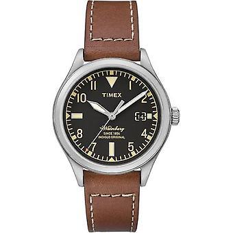 Timex Уотербери Мужские аналоговые часы с датой и кожаный ремешок - черный - Tw2p84600