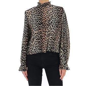 Ganni F4394943 Dames's Leopard Polyester Blouse