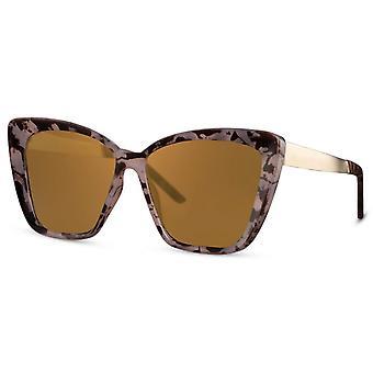 النظارات الشمسية المرأة فراشة كات. 3 بني / ذهب