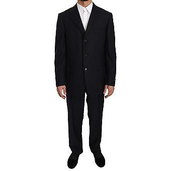 Ermenegildo Zegna negro rayas dos piezas 3 botón traje de lana