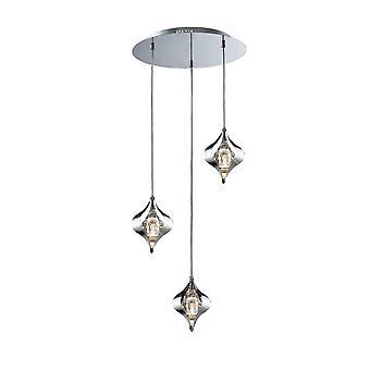 Plafond cluster hanger ronde 3 licht gepolijst chroom, kristal