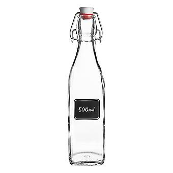 Bormioli Rocco Lavagna Glass Swing Top Bottle met Krijtbord Label - For Preserving, Home Brew - 500ml
