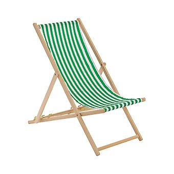 Traditional Adjustable Garden / Beach-style Deck Chair - Green / White Stripe