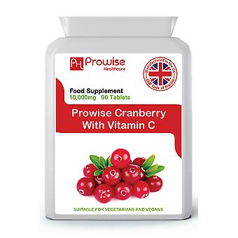 Cranberry With Vitamin C Cranberry Double Strength 10,000mg 90 Tablets Suitable for Vegetarians & Vegans