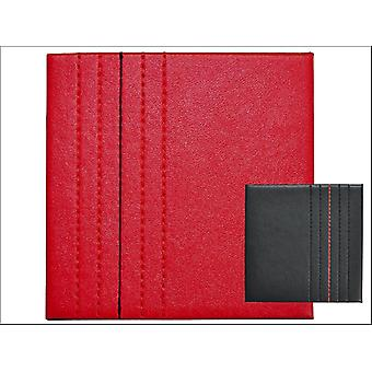 Home Living Coasters Faux Leather Red + Black Stitch x 4