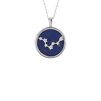 Zodiac Silver Blue Lapis Gemstone Pisces Star Necklace Pendant