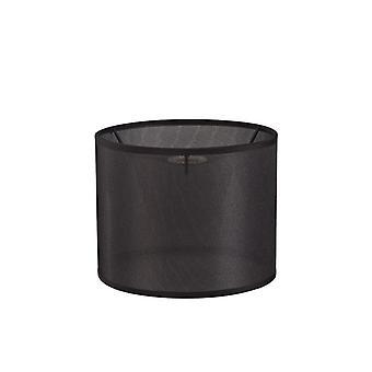 20 cm pyöreä kudos kangas lampunvarjostin musta