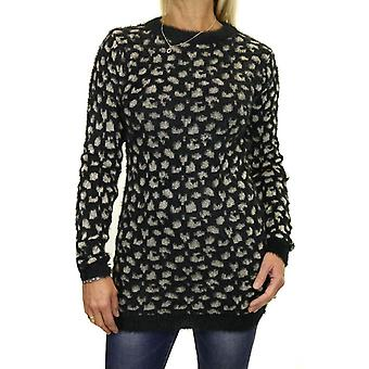 Mujeres's suave esponjoso punto jumper camuflaje Leopard Animal Print Suéter 6-18