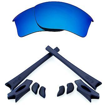オークリー・フレークジャケットXLJブルーミラー&ネイビーブルーアンチスクラッチアンチグレアUV400シークオプティクス用交換レンズ&キット