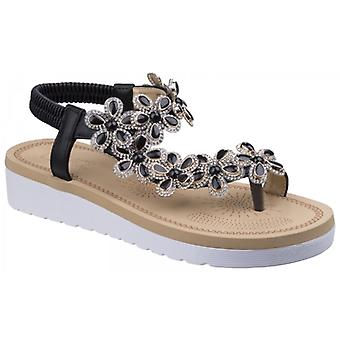 Divaz Natalie Ladies Embellished Toe Post Sandals Black