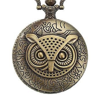 DEFFRUN XHB02 Fashion Bronze Pocket Watch Owl Pattern Collier Vintage Chain