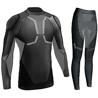 Men's Winter Gear Ski Thermal Unterwäsche Sets, Langarm Top Übung Kleidung