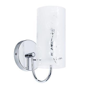 Moderno Wall Lamp Chrome, Branco 1 Luz com Sombra Branca, E27