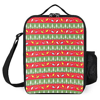 Christmas Papers Red Green Stripe Lunch Bags Boys Girls Lunch Cooler