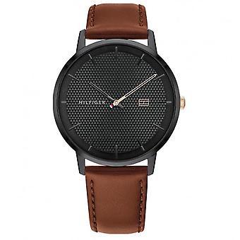 Tommy Hilfiger Watch 1791700-rodada caixa de aço preto mostrador preto pulseira de couro marrom