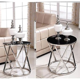 Minimalist Modern Side Table With Tempered Glass Or Marble Top