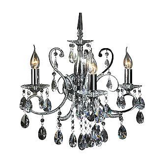Italux Barocco Chrome - Lampada da parete classica Chrome 3 Light con Crystal Shade, E14