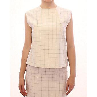 White cotton checkered shirt top
