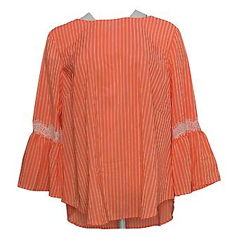 Du Jour Women's Top Striped Bell Sleeve w/ Lace Detail Pink A307042