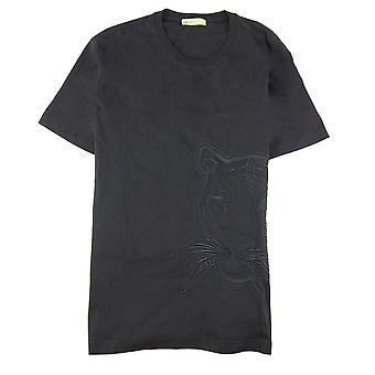 Versace Jeans Haftowane Lion Log T Shirt Czarny/czarny