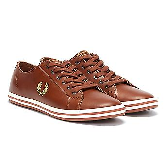 Fred Perry Kingston Mens Tan / Gold Leather Trainers