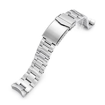 Strapcode 20mm super-o boyer 316l stainless steel watch band for new seiko 5 40mm, brushed v-clasp