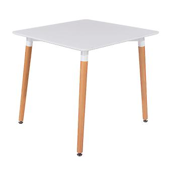 Penny square table with wooden legs, white