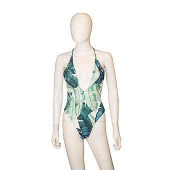 Leaves Print Deep V One-piece Swimsuit