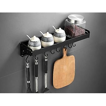 Black Wall Mounted Kitchen Racks With Hooks Space Aluminum Storage