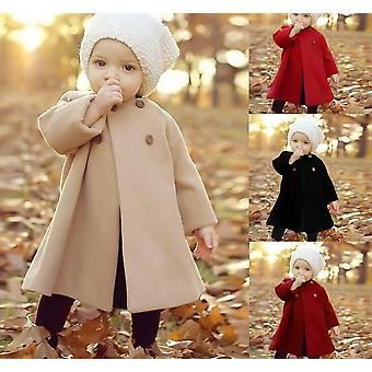 Kinder's Wintermantel, neue O-Ausschnitt Langarm Cape Woolen Jacke