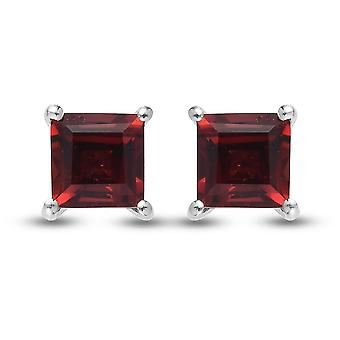 TJC Garnet Solitaire Stud Earrings Platinum Plated Silver Birthday Gift 2.2ct