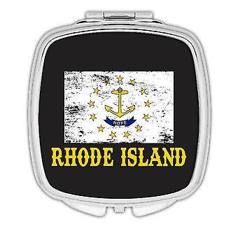 Gift Compact Mirror: Rhode Island Flag