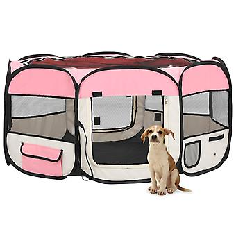 vidaXL Foldable puppy stall with carrying bag Pink 145x145x61 cm