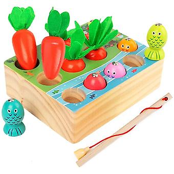 Angelspiel Holz Kinder,Montessori holzspielzeug,Karotte Spielzeug,sortierspiel Holz fr