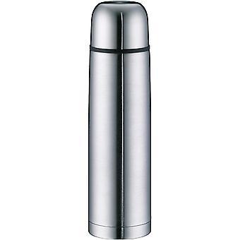 Wokex Isolierflasche Edelstahl isoTherm Eco, Edelstahl mattiert 1L, Thermosflasche mit Trinkbecher