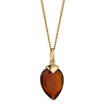 Inicios 925 Plata de ley mujeres oro calcedony piedra de nacimiento semi preciosa piedra preciosa colgante longitud 41cm + 5cm