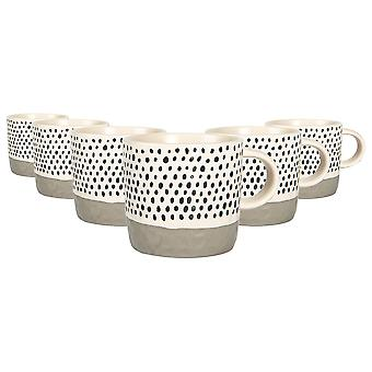 6x Ceramic Dipped Dots Coffee Mugs Patterned Coloured Tea Cups 385ml Grey