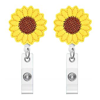 Leuyuan Retractable Badge Reel [2 Pcs] Sunflower Shaped And Id Cases
