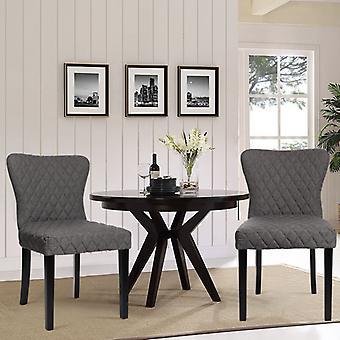 Set mit 2 gepolsterten Esszimmerstühlen aus Leinen