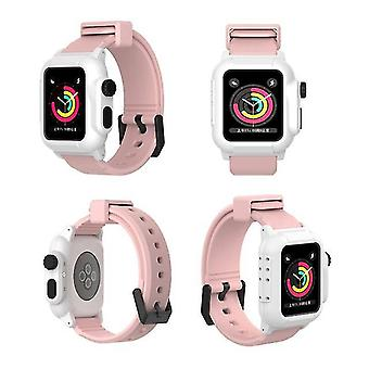 Replacement Silicone Strap for Apple Watch Series 2/3 42mm - White & Pink