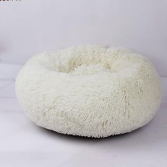(Weiß) Haustier bett,Hund Katze Rund Warm Kuschelzwinger Soft Welpen Sofa Kissen Außendurchmesser 40 cm