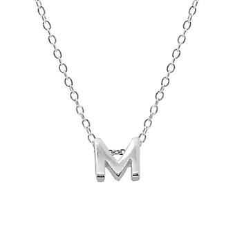 Sterling Silver Letter Round Choker Necklace, Minimalist Fine Jewelry(SILVER M)