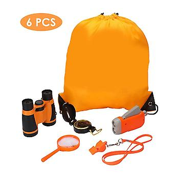 6Pcs / sett barn utendørs utforsking sett kikkert kompass forstørrelsesprogram fløyte barn camping eventyrpakke pedagogiske leker gave