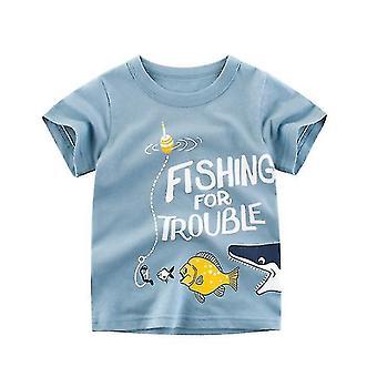 T-shirts voor kinderen katoen meisjes T-shirt jongens korte mouw tops (120cm)