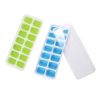 2pcs Plastic Soft Ice Tray With Lid Jelly Ice Box