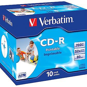 Verbatim CD-R, 52x, 700 MB/80 min, 10-pack, jewel case, AZO, imprimível
