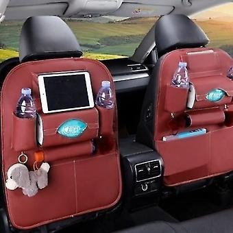 Organisateur de dossier de siège d'auto Rangement sac de voyage Multi-poche Pu Cuir Protecteur de siège arrière