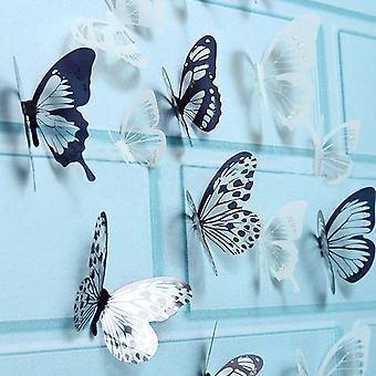 18pcs 3d Black And White Butterfly Sticker Art Wall Decal Home Decoration Room Decor