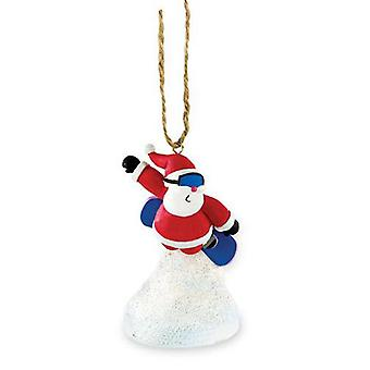 Santa Riding Snowboard Christmas Holiday Ornament