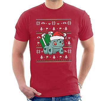Kerst Bulbasaur brei patroon Pokemon mannen T-Shirt
